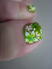 Like My Pedicure Goose Studios Tags Flowers Green An Toes Nails