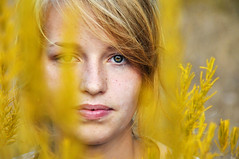 yellow dream catcher [Explore Front Page] (laura zalenga) Tags: woman flower girl beautiful face yellow eyes close sister explore blond gaze frontpage sooc laurazalenga evazalenga