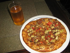 Vegan pizza and applce juice
