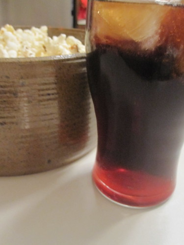Popcorn and cherry coke