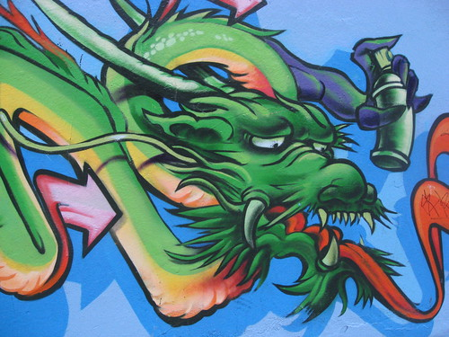 Dragon with Spraycan Mural