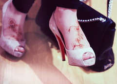 (heartbreaker [London]) Tags: red black fashion self velvet purse heels henna legacy louboutin