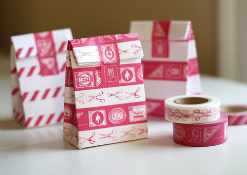 Mini bags decorated with tape