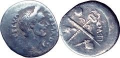 480/6 #10157-30 L.AEMILIVS BVCA Juliues Caesar, Fasces Caduceus axe globe hands Denarius