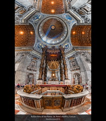 Baldacchino di San Pietro - St. Peter's Basilica, Vatican (HDR Vertorama) (farbspiel) Tags: travel blue red vacation italy panorama holiday pope vatican rome colour history tourism colors yellow photoshop geotagged religious temple photography gold ancient nikon worship colorful colours basilica religion belief historic holy journey handheld stitching photomerge mystical colourful vat spiritual michelangelo bernini stitched dri hdr highdynamicrange farben tempel heilig stpetersbasilica superwideangle 10mm postprocessing stpeterbasilica glaube dynamicrangeincrease ultrawideangle d90 photomatix religiös tonemapped tonemapping farbenpracht detailenhancer vertorama baldacchinodisanpietro topazadjust topazdenoise klausherrmann topazsoftware stpetersbaldachin sigma1020mmf35exdchsm topazphotoshopbundle geo:lat=4190229301 geo:lon=1245381832