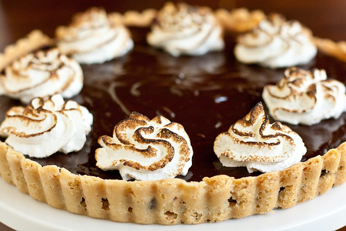 Chocolate Peanut Meringue Tart