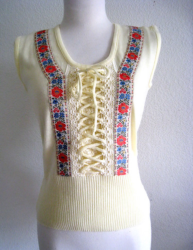 1970s Lace Up Sweater Top