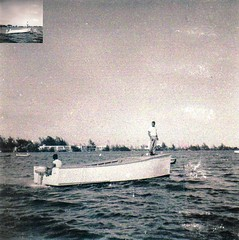 Glenwood 'Wimpy' Gibson and brother Charlie on first boat 1954