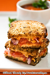 """Grilled """"Cheese"""" Goodness (Bitter-Sweet-) Tags: food cheese bread lunch soup vegan tomatoes sandwich onions brunch easy grilled quick savory vegnews"""