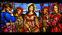 Sts. Paul, John, Cecilia, Augustine, and Mary Magdalene (*Jeff*) Tags: church window minnesota john paul catholic eagle mary stainedglass organ sword jar cecilia adrian augustine magdalene crosier