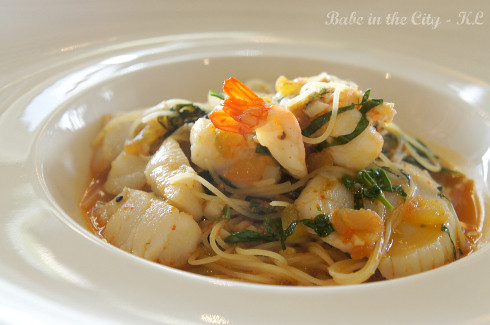 Warm Capellini Pasta with Trio of Seafood and Spices