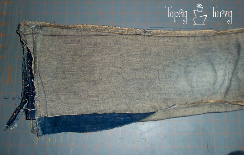 bootcut to skinny jean makeover upcycled trimming second side