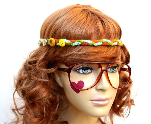 mannequin head · red hair · nerd glasses · crochet · headband · etsy