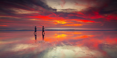 Sunset at seminyak-Bali (Helminadia Ranford(Traveling)) Tags: light sunset bali seascape colour reflection nature indonesia fishermen kuta seminyak helminadia