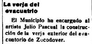 10-2-1926 El Castellano  anuncia la adjudicación de la verja de los urinarios a Julio Pascual