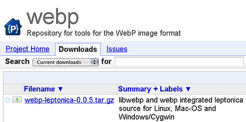 Downloadable archive WebP and Leptonica source code