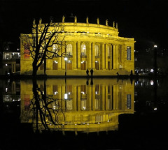 Opera Reflections at Night - Stuttgart, Germany (Batikart) Tags: city winter light sky people urban house lake reflection building tree window water silhouette yellow architecture night canon germany dark geotagged deutschland golden see evening abend licht pond opera wasser europa europe stair cityscape nacht geometry himmel historic treppe stadt architektur column curve reflexion 500faves spiegelung baum gebude schlosspark statetheatre dunkel oper nachtaufnahme g11 opernhaus historisch badenwrttemberg sule swabian staatstheater eckensee 2011 100faves 200faves viewonblack 300faves superaplus 400faves batikart chteaupark maxlittmann stuttgartstateopera obererschlossgarten bestcapturesaoi canonpowershotg11
