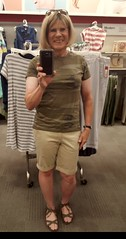 Bermuda shorts (krislagreen) Tags: tg tgirl transgender transvestite cd crossdress shorts camo gladiatorsandals blond khaki femme femininized feminization