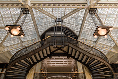 Rookery (Fret Spider) Tags: rookery chicago downtown city architecture financialdistrict loop landmark historic symmetry art balance ceiling stairs building indoor franklinlloydwright canonef24mmf14liiusm eos sonya7rii prime flw
