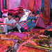 Colourful Uyghur silk stall