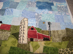farm progress (shebrews) Tags: windmill quilt embroidery artquilt scrapart farmart fabriccollage fabricart handstitch fabricscrap teametsy