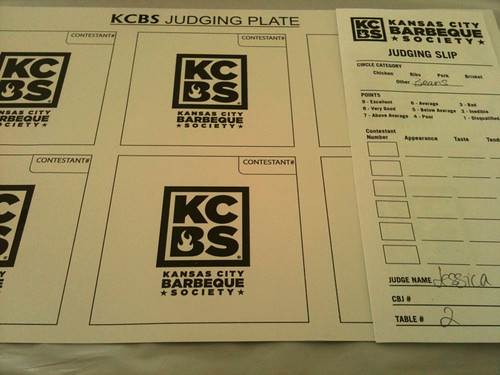 KCBS judging plate and judging slip