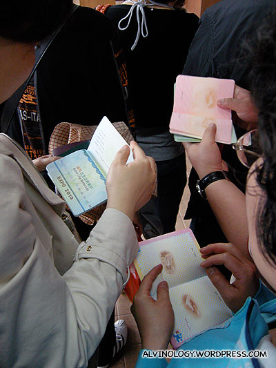 "Noticed a lot of the Chinese have these Expo ""passports"" where they can get a chop at each of the country pavilion they visited - a lot of pushing and shoving occurred because of this"