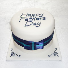 Father's Day Cake (Sweet Sensations Cakes) Tags: blue man cake day ribbon simple fathers