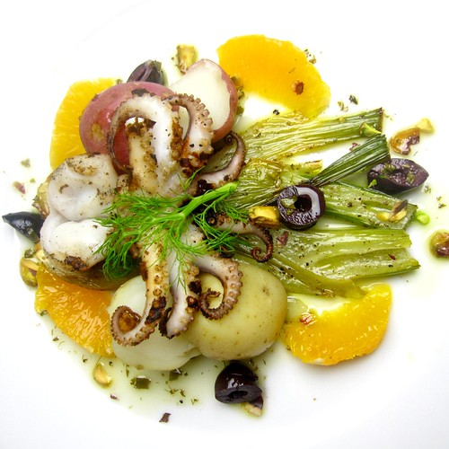 Grilled Baby Octopus Salad with Roasted Fennel, Olives, Citrus and Pistachios