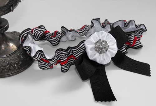 Black White Red Glitz Bridal Garter