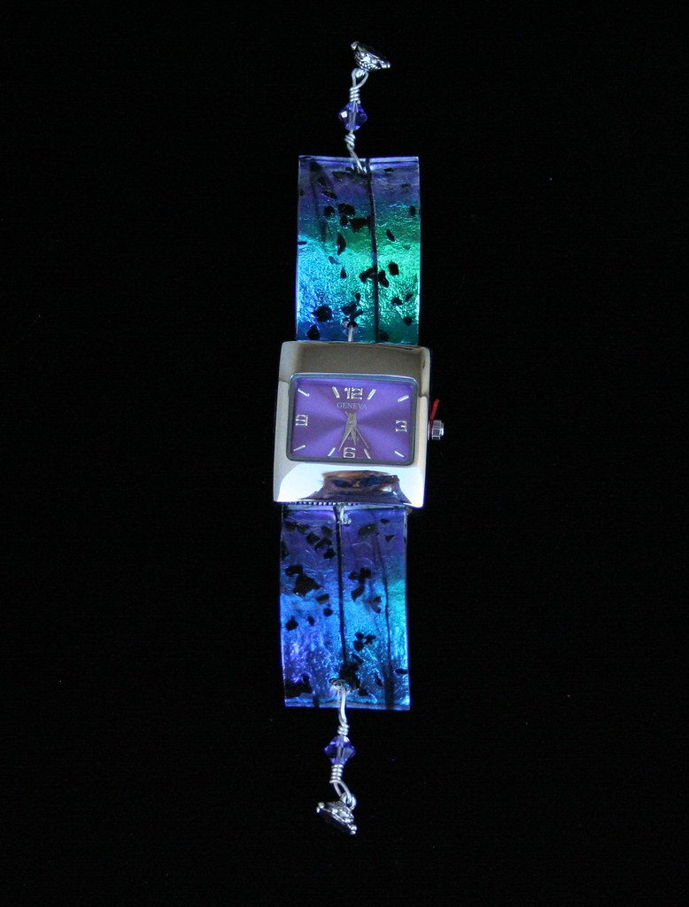 green purple blue dichroic fused glass watch with purple face