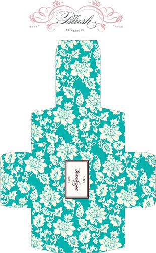 フローラルお花柄で、アンティークな雰囲気のギフトボックス展開図