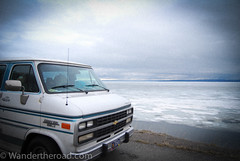 Frozen Yellowstone Lake (auzzki) Tags: travel camping expedition america fun honeymoon exploring wanderlust adventure chevy openroad justmarried campervan overland vanconversion g20van honeymoonadventure