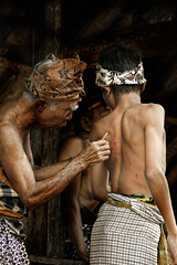 Tenganan Pegeringsingan village, Bali - Mekare-Kare ritual where boys don't cry  Part 3 of 7 (Mio Cade) Tags: travel boy bali man male men leaves temple kid fight hurt village child weapon whip ritual shield bleed pura kare tenganan perangpandan mekare pegeringsingan pandanous