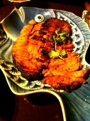 国産豚の炙り焼きの激辛ソース。 #sntn