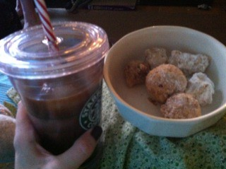 Homemade iced coffee and munchkins