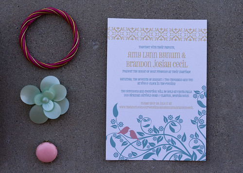 Here are the shabby chic wedding invitations for Amy 39s Georgia wedding