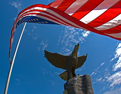 American Flag & Eagle (photographyguy) Tags: flag statue americanflag oldglory eagle flagpole starsandstripes blueskyandwhiteclouds louisiana shreveport