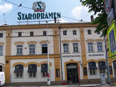 Beer factory Staropramen building in Prague, Czech Republic. July 4, 2010 (Vadiroma) Tags: city building industry beer factory prague capital july smichov praha czechrepublic economy 2010 staropramen esko potrefenahusa