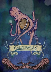 the world is your oyster (estersands) Tags: art illustration ink photoshop poster globe drawing banner octopus urchin orbs estersands