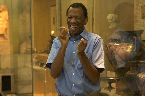 CJ Jones signing the ASL Tours at the Penn Museum