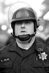 Oakland PD Officer R. Nolan, Oakland Riots, 2010 (Thomas Hawk) Tags: california bw usa america oakland riot cops unitedstates unitedstatesofamerica protest police eastbay riots oaklandpd oaklandpolicedepartment oscargrant oaklandriots oaklandlocal johannesmersehle oaklandca070810 oaklandriots2010