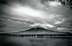 Fuji (Kawaguchiko, Japan) (marcusuke) Tags: bw white mountain lake black blanco japan clouds nikon fuji negro mount fujisan  kawaguchiko fujiyama d300  earthasia