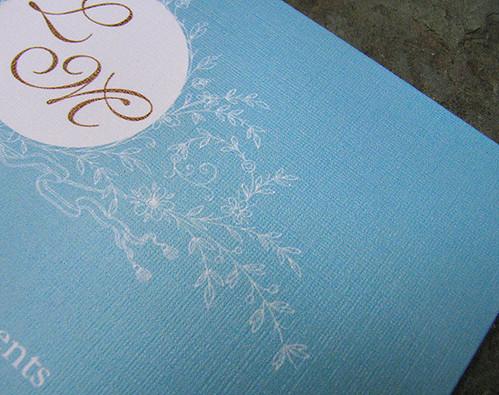 Aquamarine Vintage Wedding Invitation 2