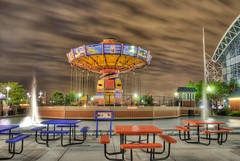 Navy Pier Wave Swinger at Night (Mister Joe) Tags: carnival chicago night buildings illinois movement cityscape swings ferriswheel navypier iconic centered hdr cityscenes waveswinger touristdestination nighthdr swingingchairs iconicchicago architectureandstructures