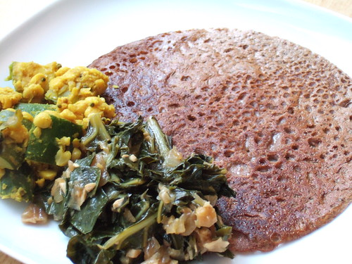 Teff Kefir Flatbread with Collard and Zucchini Chana Dal