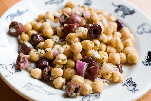 Chickpea, olive, and onion salad