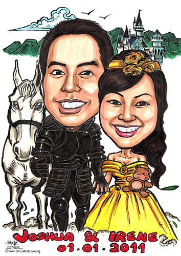 Wedding couple caricatures - knight & princess A3
