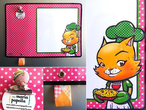 Quadro de Recados Magnético 'Gatinha na Cozinha' • Rosa