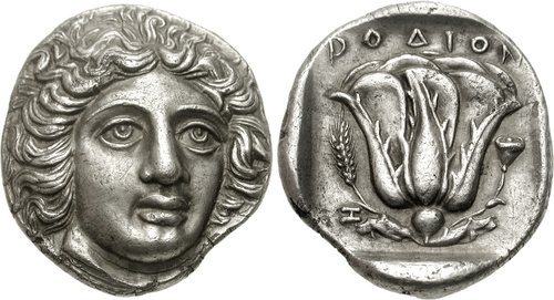 An Excessively Rare Greek Silver Tetradrachm of Rhodes (Islands off Caria), the Head of Helios with Unusual Exaggerated Features
